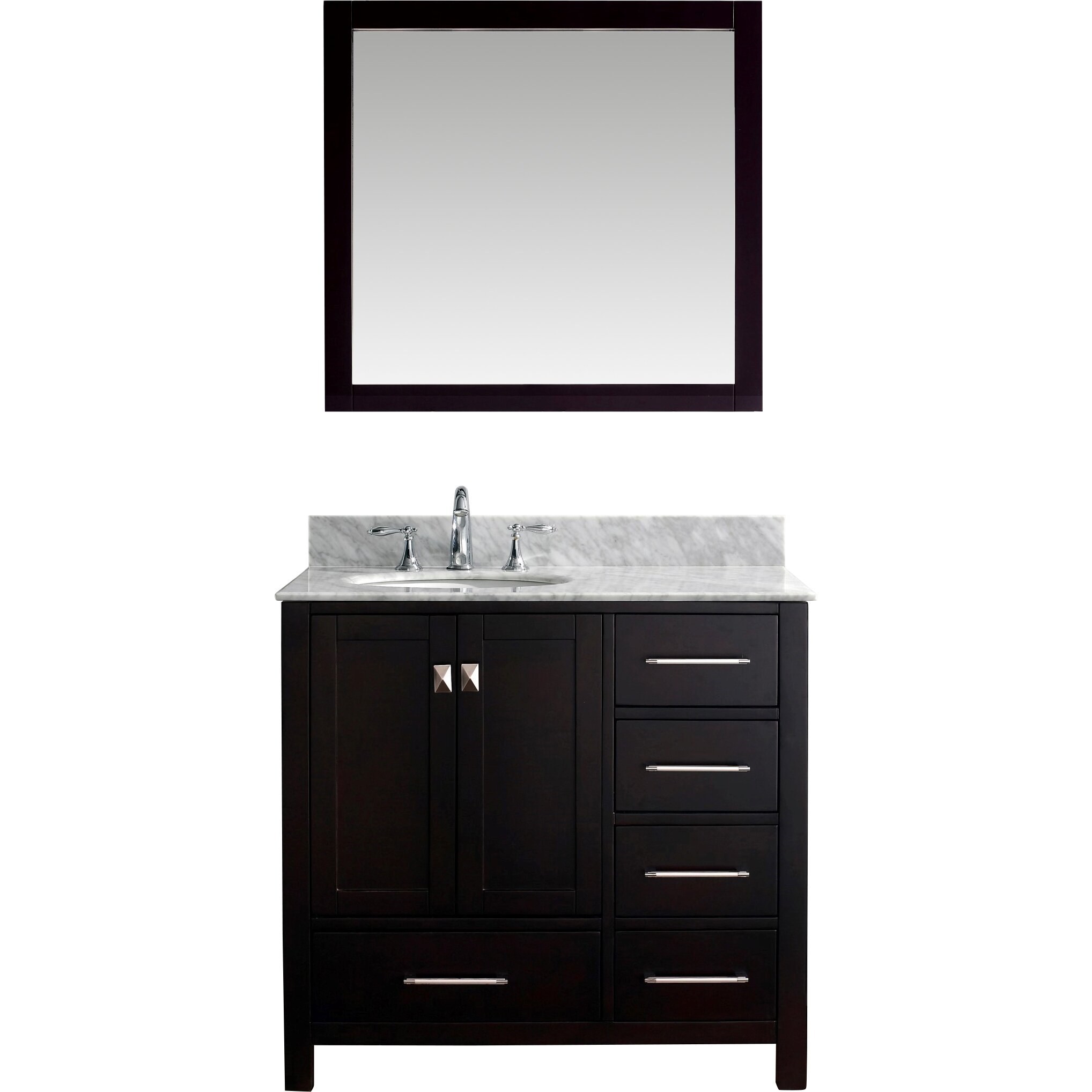 "Virtu Caroline Avenue 36.8"" Single Bathroom Vanity Set with Carrara White Top and Mirror ..."