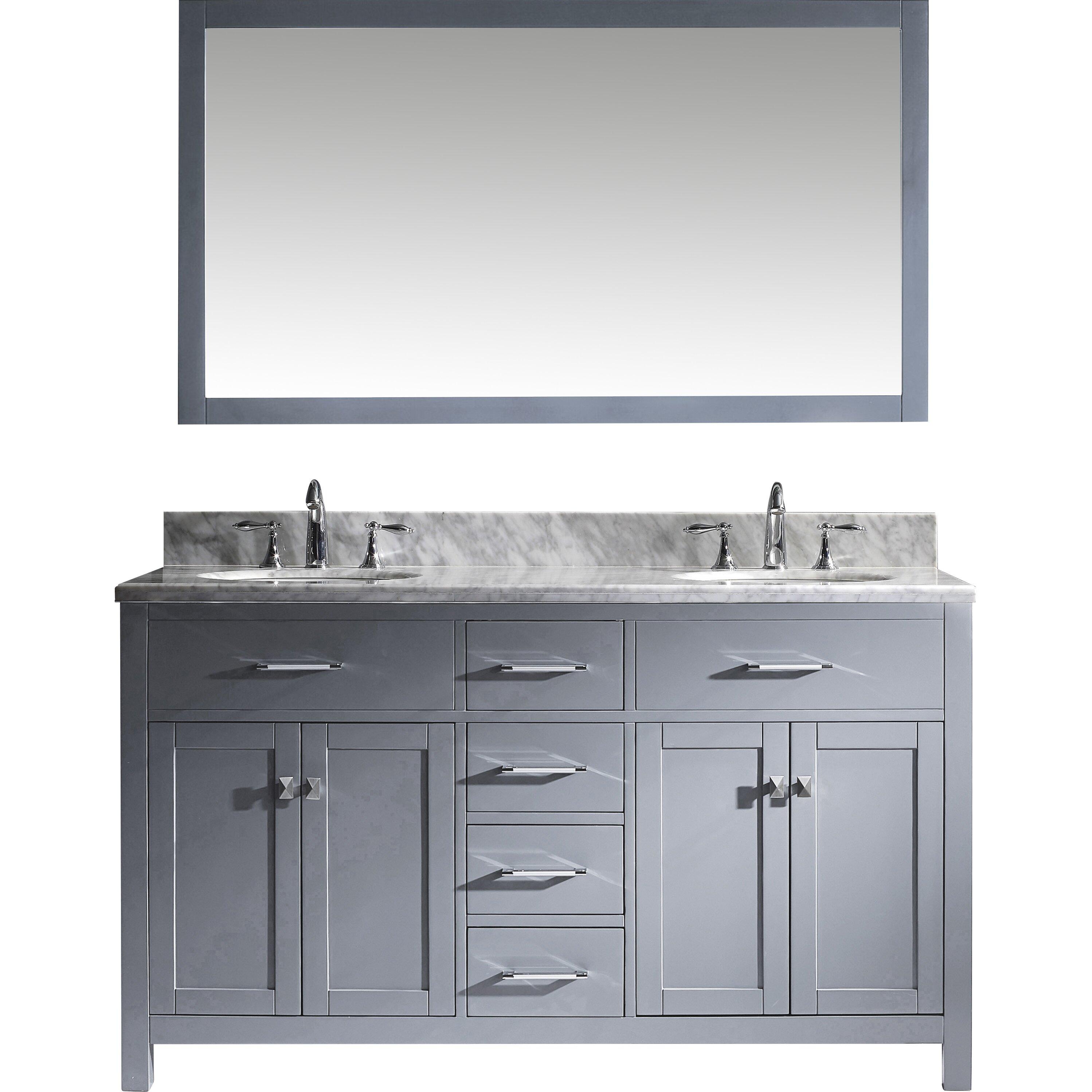 Virtu caroline 60 double bathroom vanity set with carrara for Vanity and mirror set