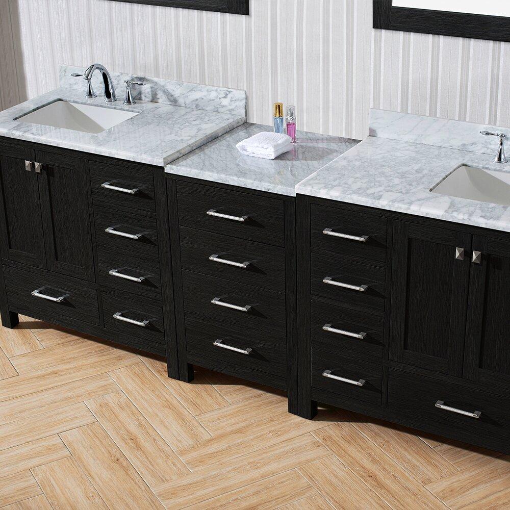 Virtu Caroline 90 Double Bathroom Vanity Cabinet Set With Mirror Wayfair