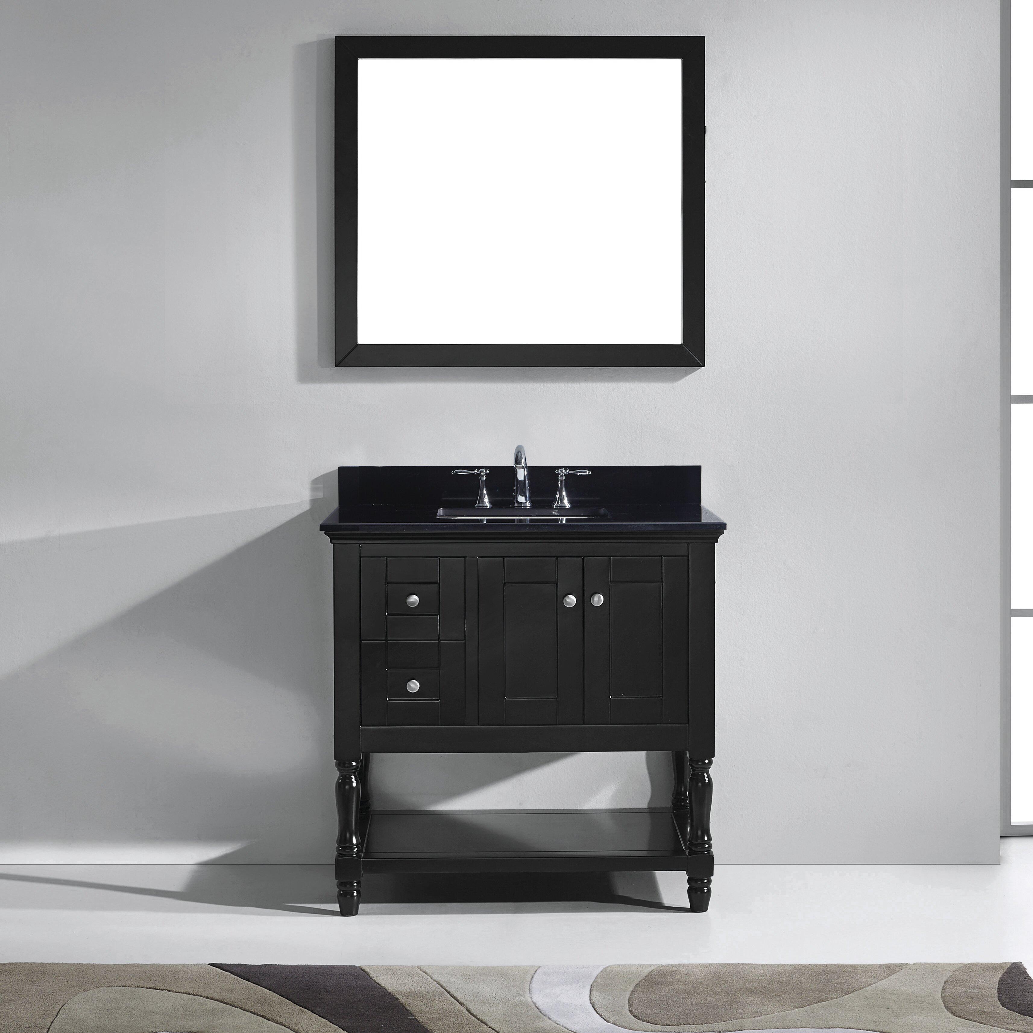 """Black Bathroom Vanity Set: Virtu Julianna 36"""" Single Bathroom Vanity Set With Black"""