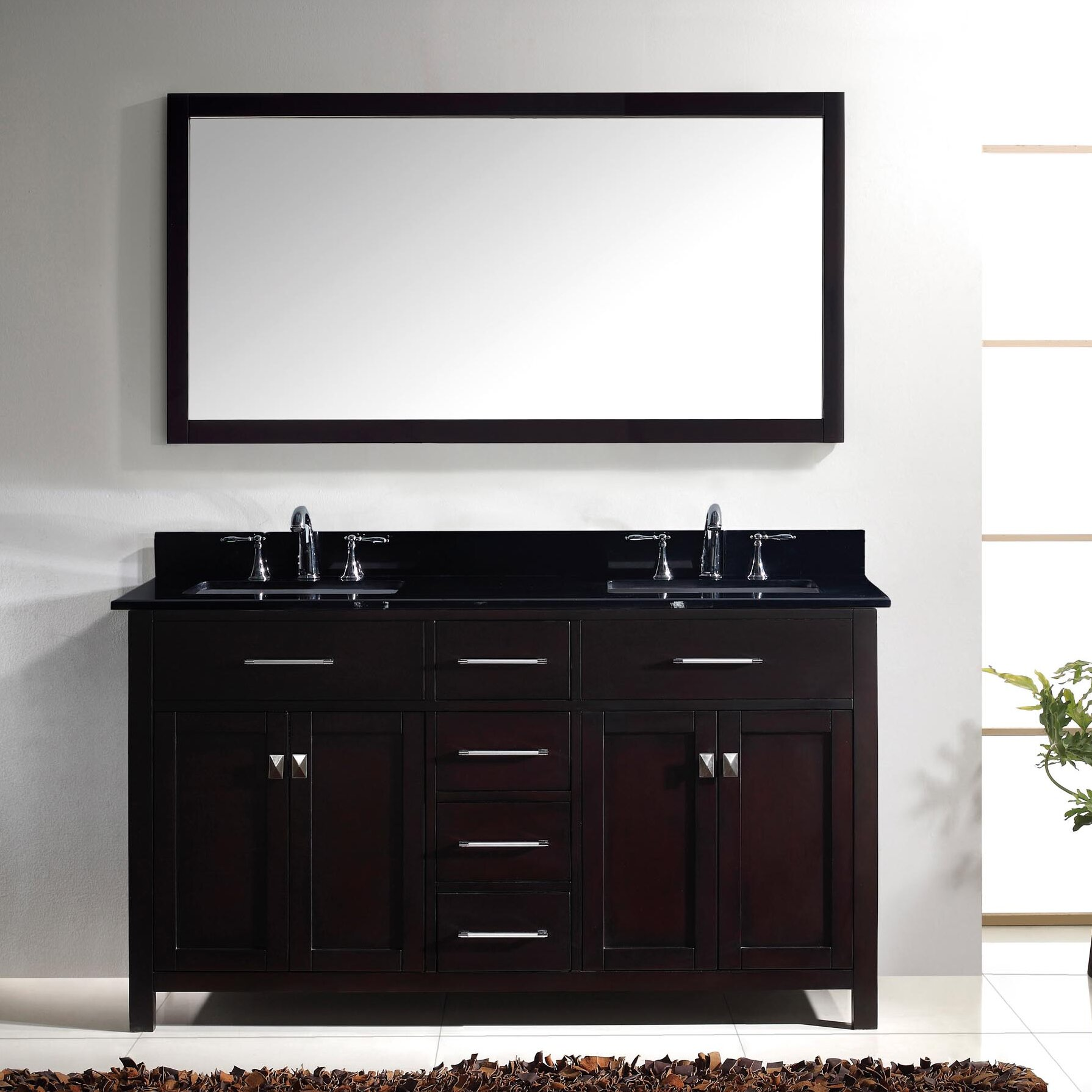 virtu caroline 60 double bathroom vanity set with black galaxy top