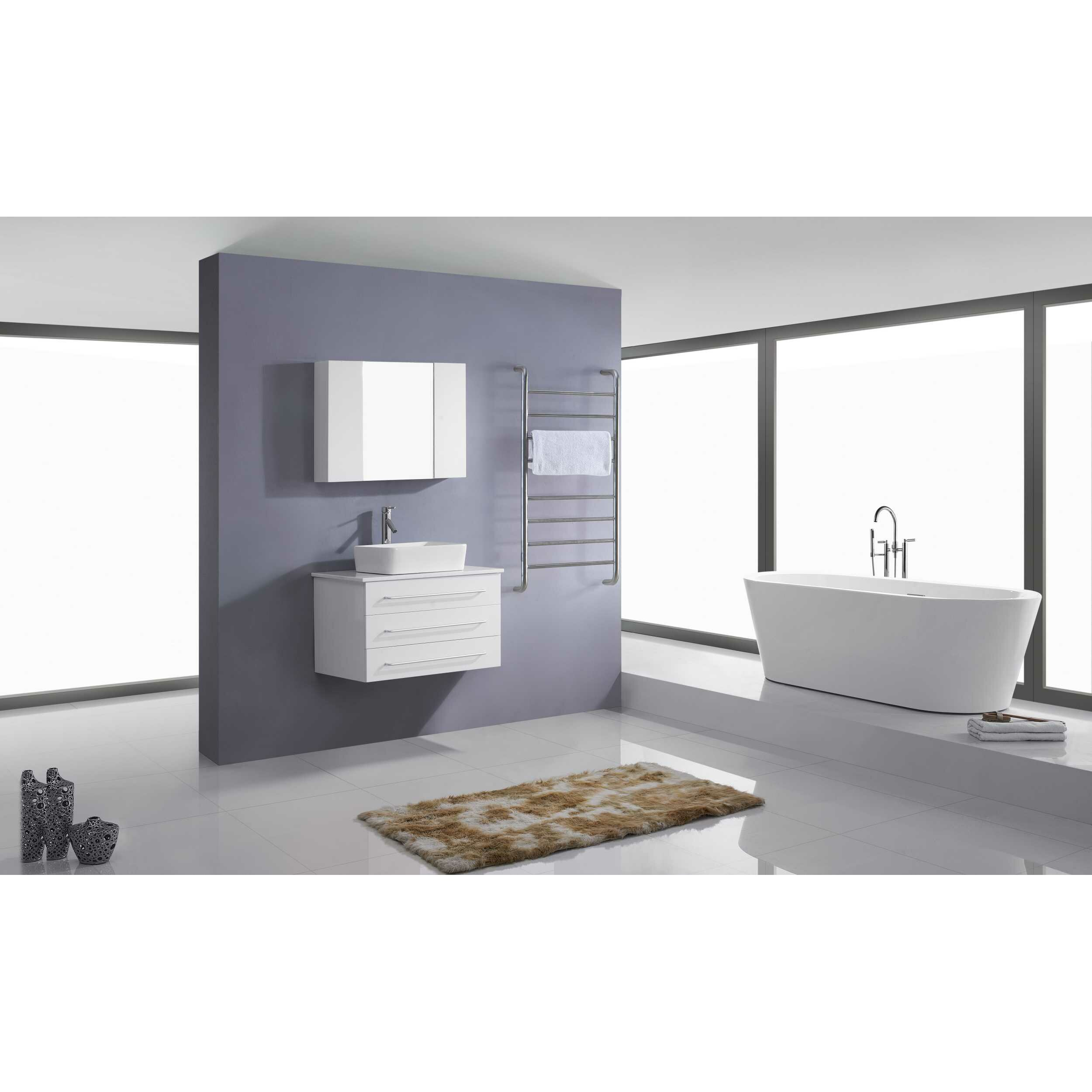 Virtu ivy 32 quot single floating bathroom vanity set with mirror