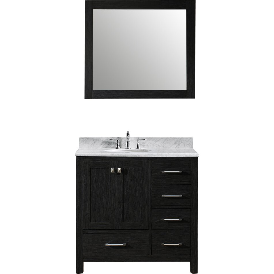 Virtu caroline avenue 36 single bathroom vanity set with for Vanity and mirror set