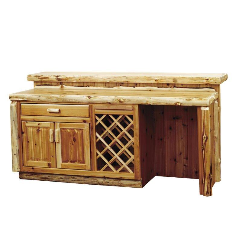 Fireside Lodge Traditional Cedar Log Bar With Wine Storage Reviews Wayfair