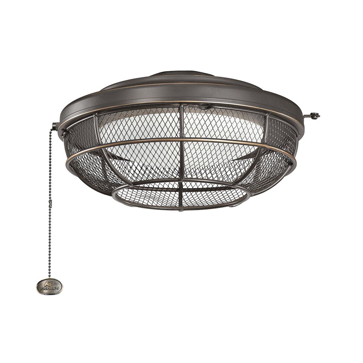 Kichler Industrial 3 Light Bowl Ceiling Fan Light Kit