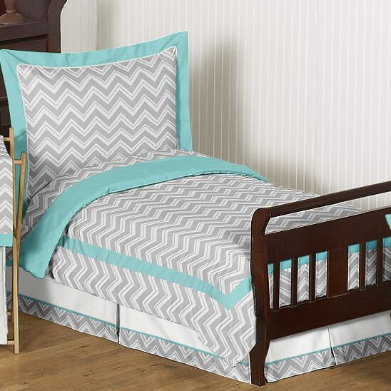 Sweet jojo designs zig zag 5 piece toddler bedding set for Zig zag bedroom ideas