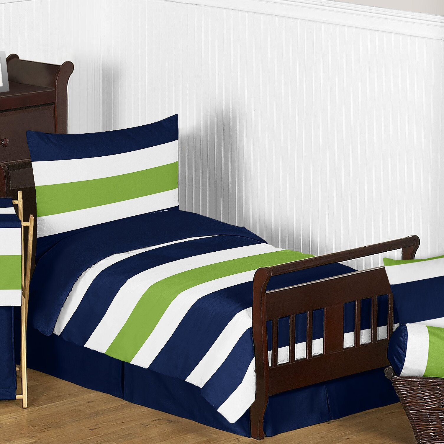 Sweet Jojo Designs Navy Blue And Lime Green Stripe 5 Piece