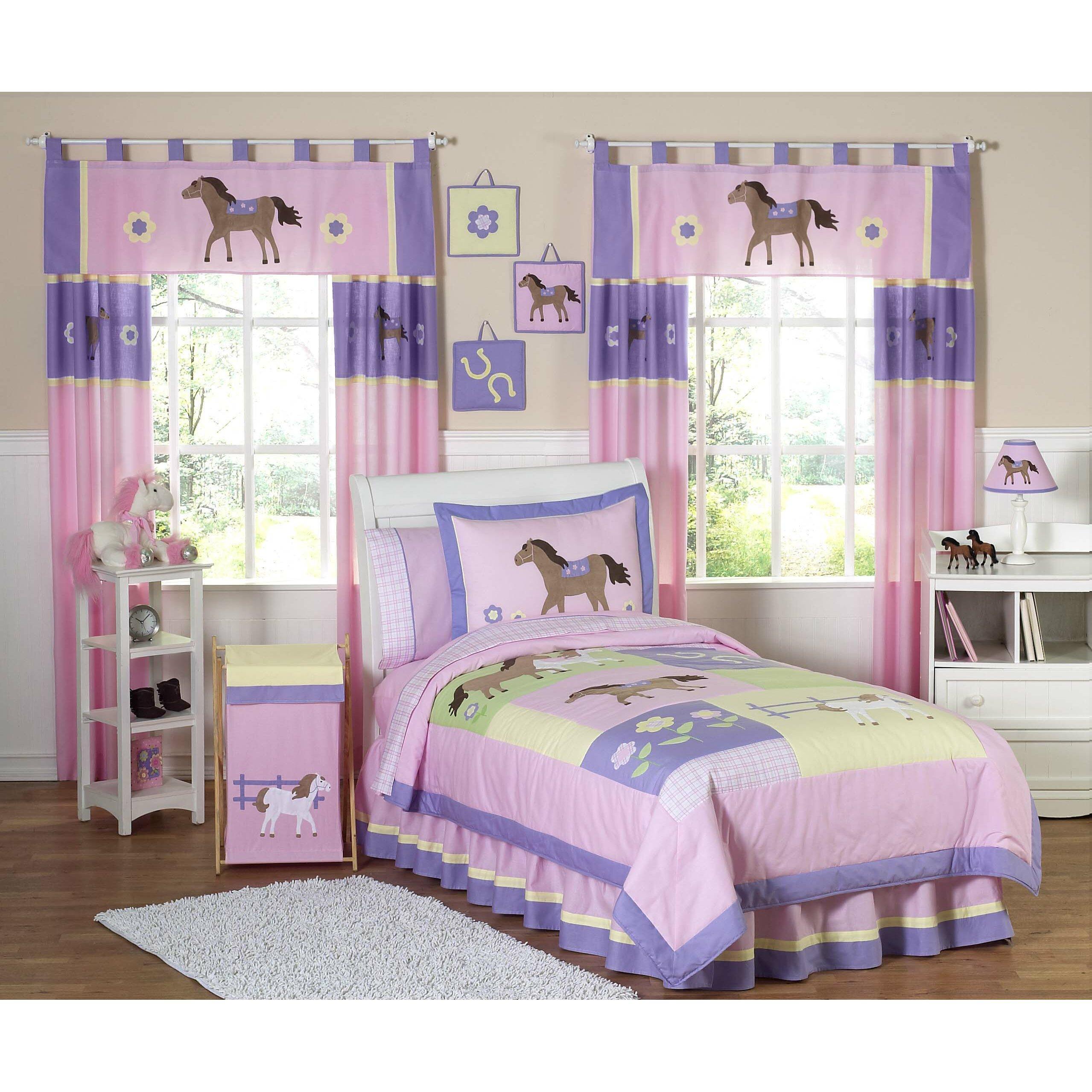 Sweet jojo designs pony 4 piece twin comforter set wayfair for Bed set designs