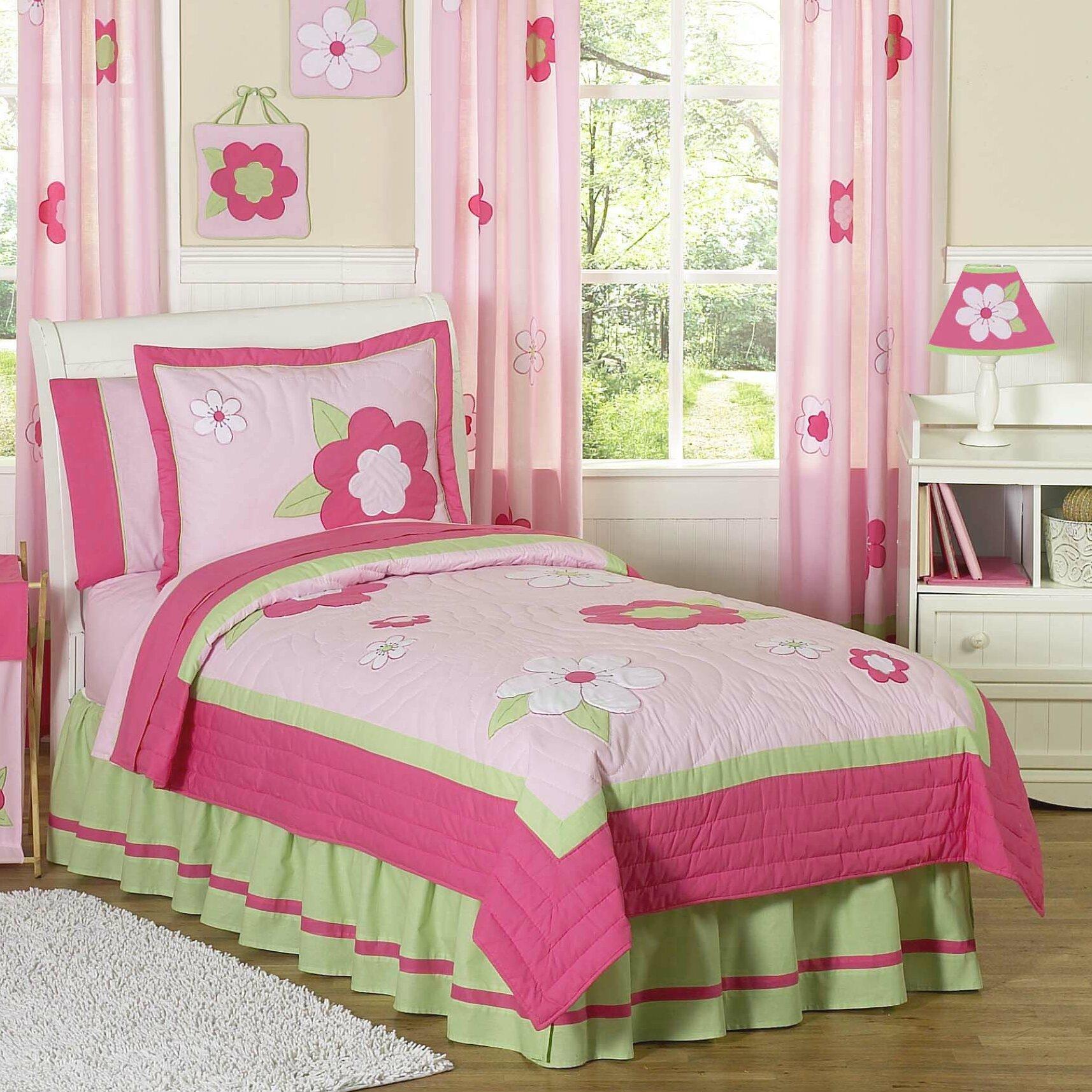 sweet jojo designs flower pink and green 4 piece twin comforter set reviews. Black Bedroom Furniture Sets. Home Design Ideas