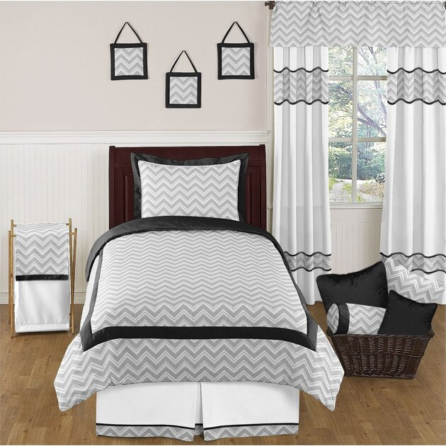 Sweet jojo designs zig zag 4 piece twin comforter set for Zig zag bedroom ideas