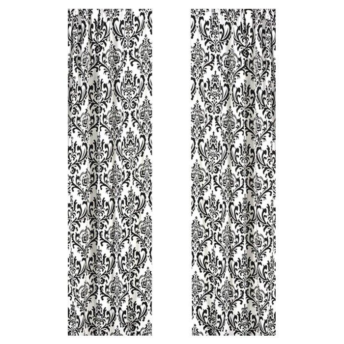 Sweet Jojo Designs Isabella Damask Black White Curtain