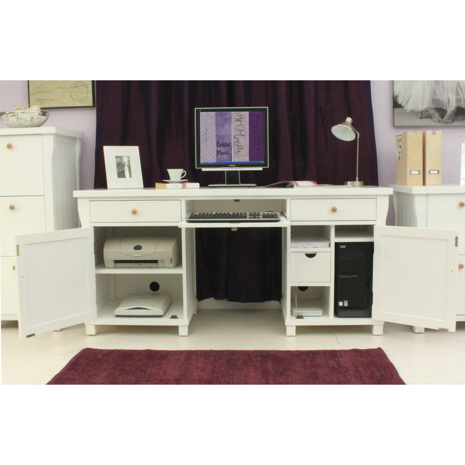Baumhaus Hampton White Painted Computer Desk With Keyboard