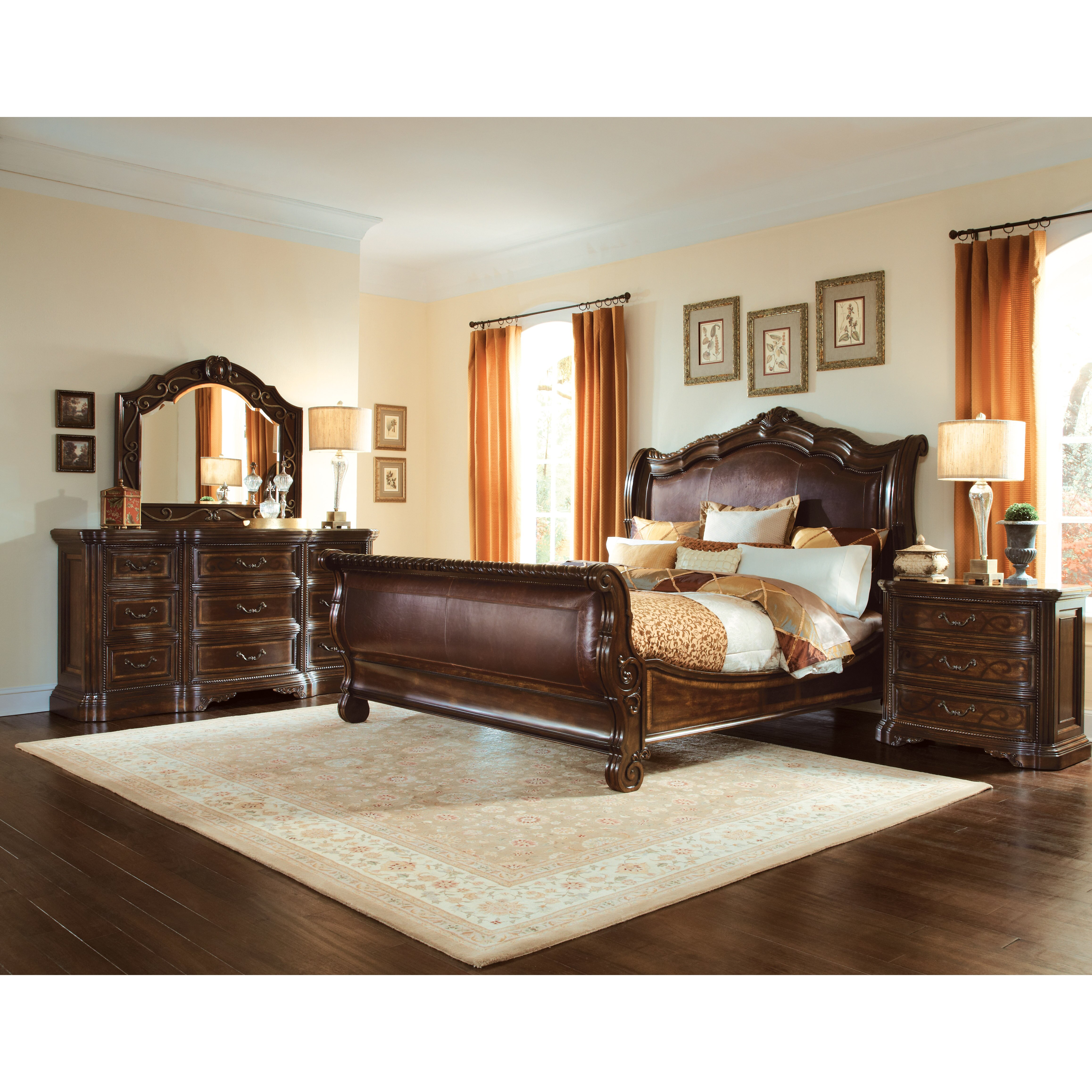 A r t valencia sleigh customizable bedroom set wayfair for Sleigh bedroom set
