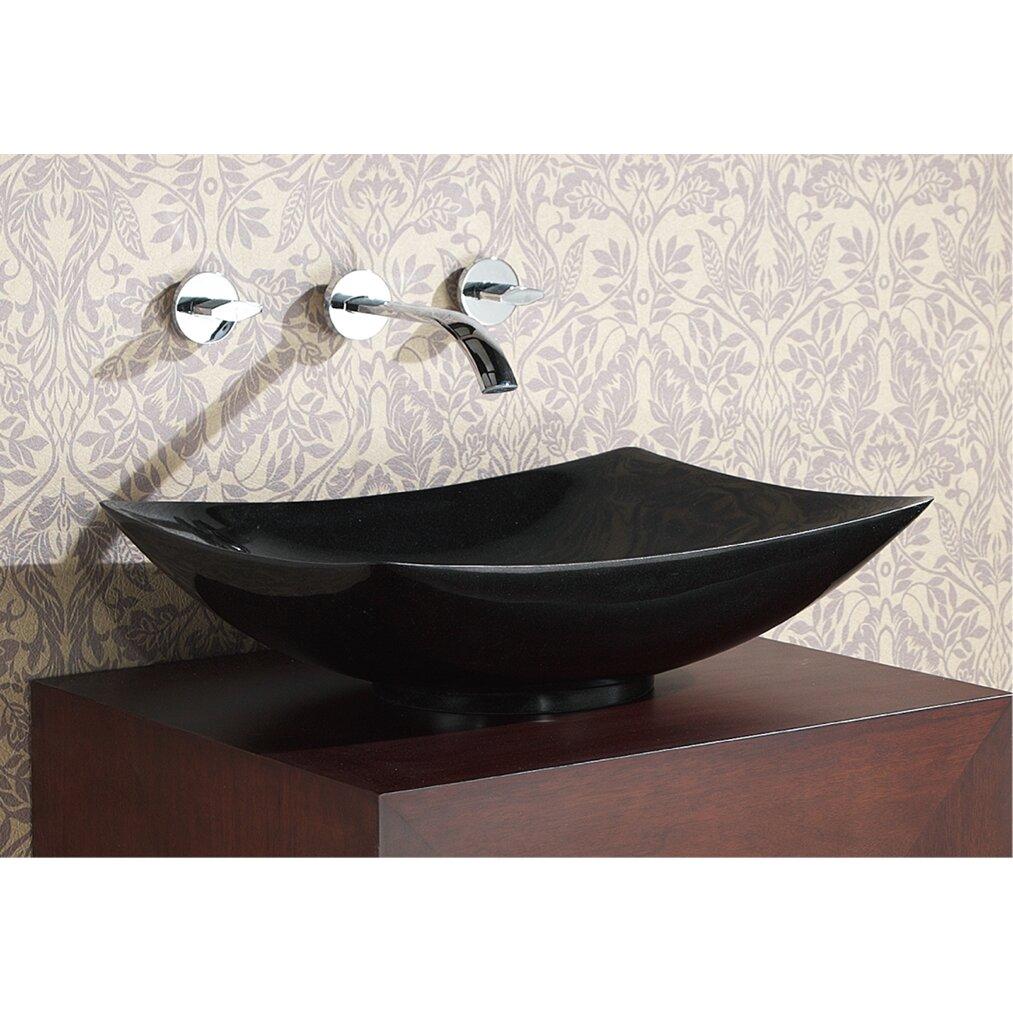 Avanity rectangular stone vessel bathroom sink reviews wayfair for Black granite vessel bathroom sinks