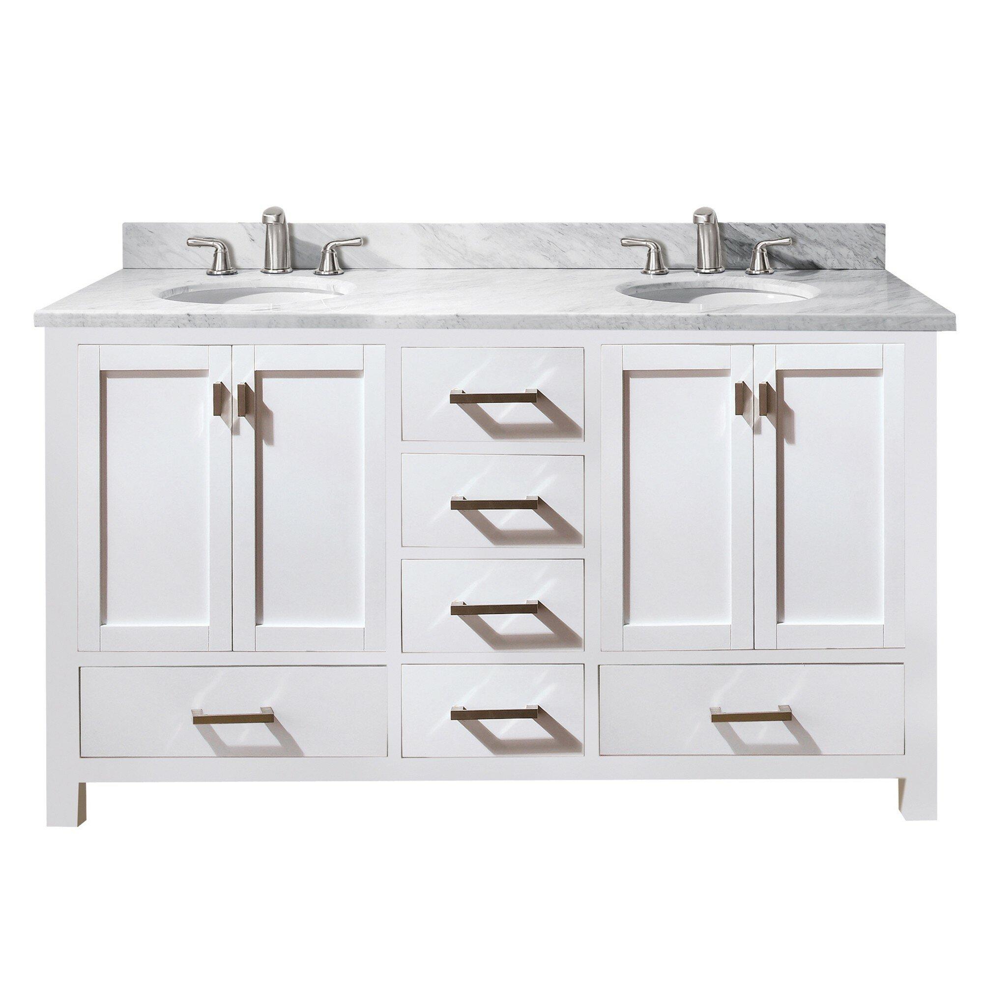 "60 Modero Double Vessel Sink Vanity: Avanity Modero 60"" Double Vanity Base & Reviews"