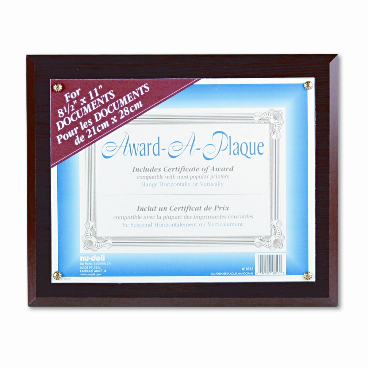 nu dell award a plaque document holder acrylic plastic 10 1 2 x 13 wayfair. Black Bedroom Furniture Sets. Home Design Ideas