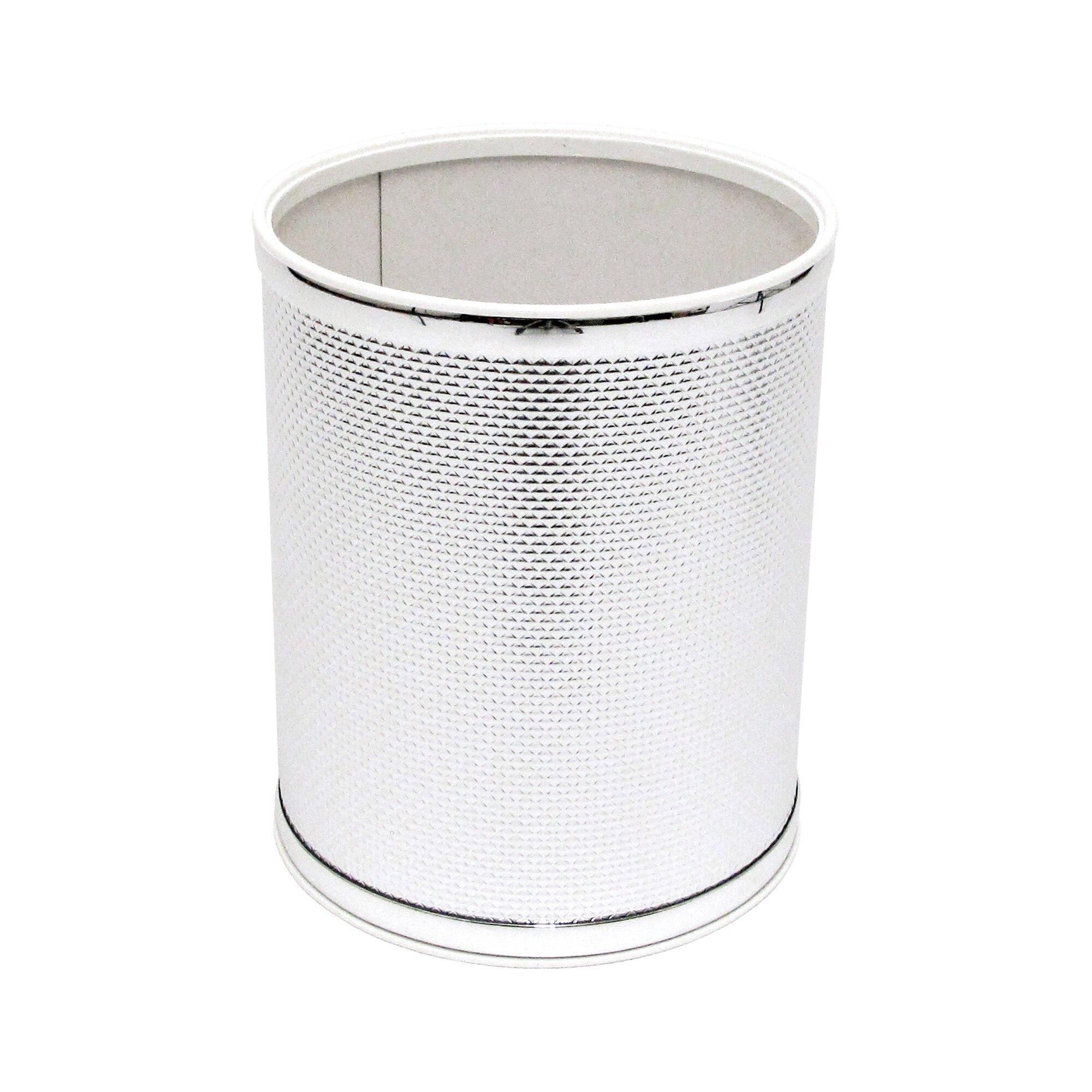Redmon bath jewelry diamond pattern round wastebasket for Bathroom wastebasket