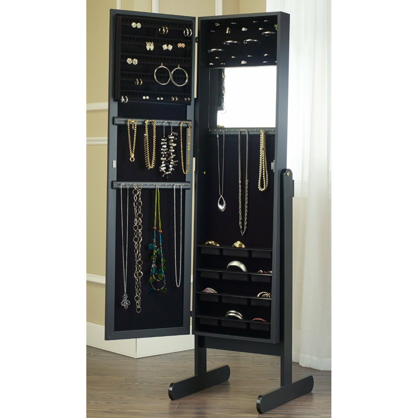Mirrotek free standing jewelry armoire with mirror for Mirror jewelry cabinet