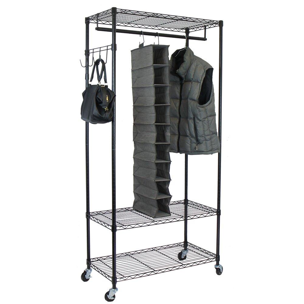 oceanstar design garment rack with adjustable shelves. Black Bedroom Furniture Sets. Home Design Ideas