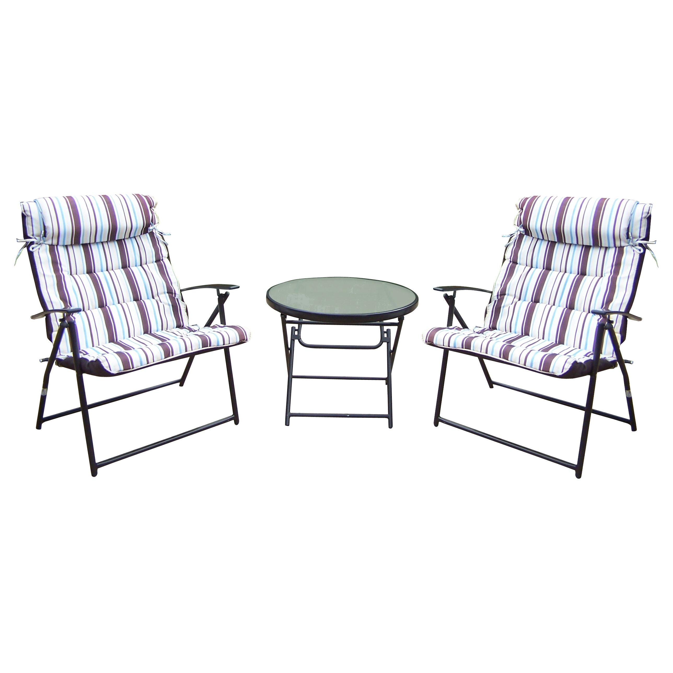 oakland living 3 piece folding bistro set reviews wayfair. Black Bedroom Furniture Sets. Home Design Ideas