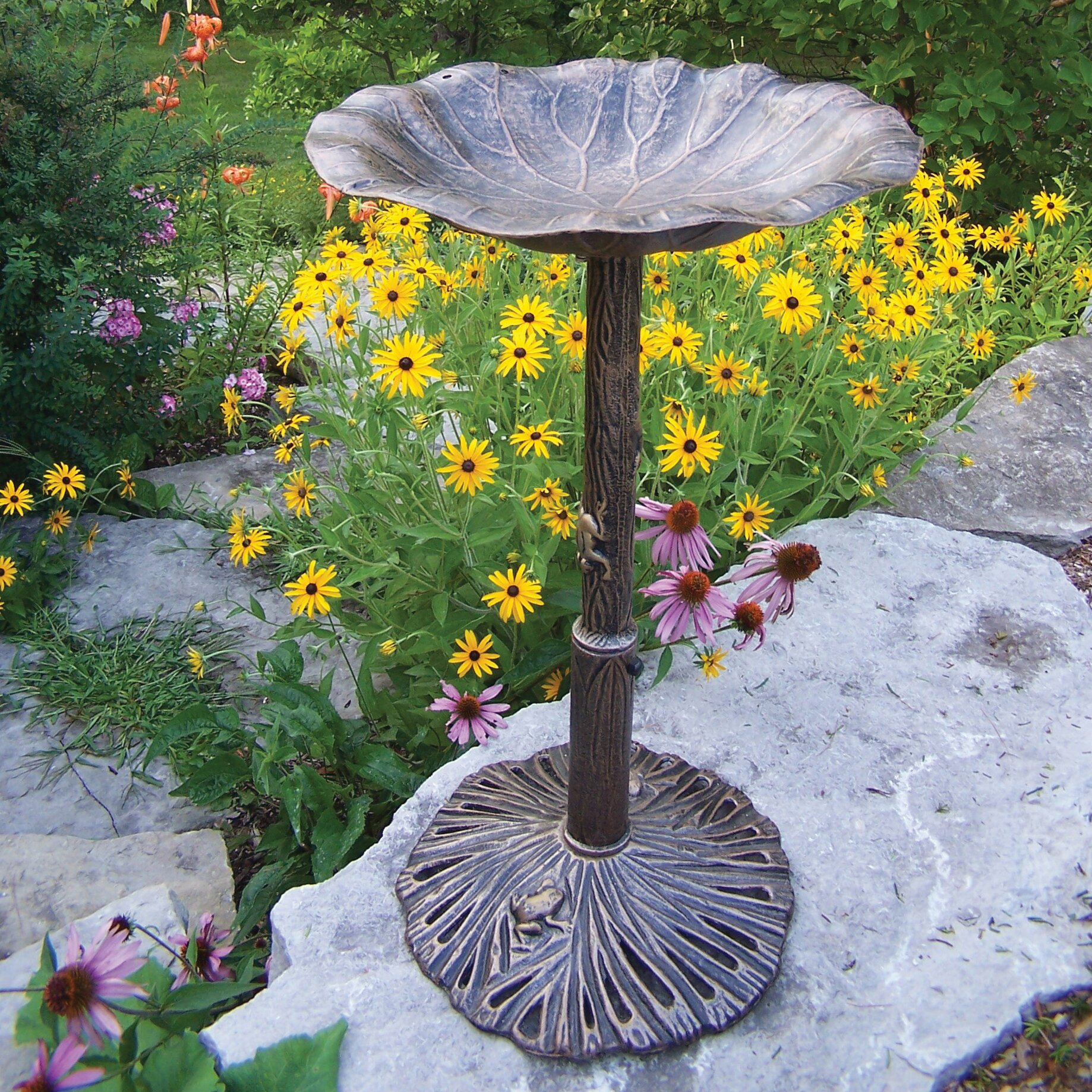Oakland Living Lily Bird Bath Reviews Wayfair