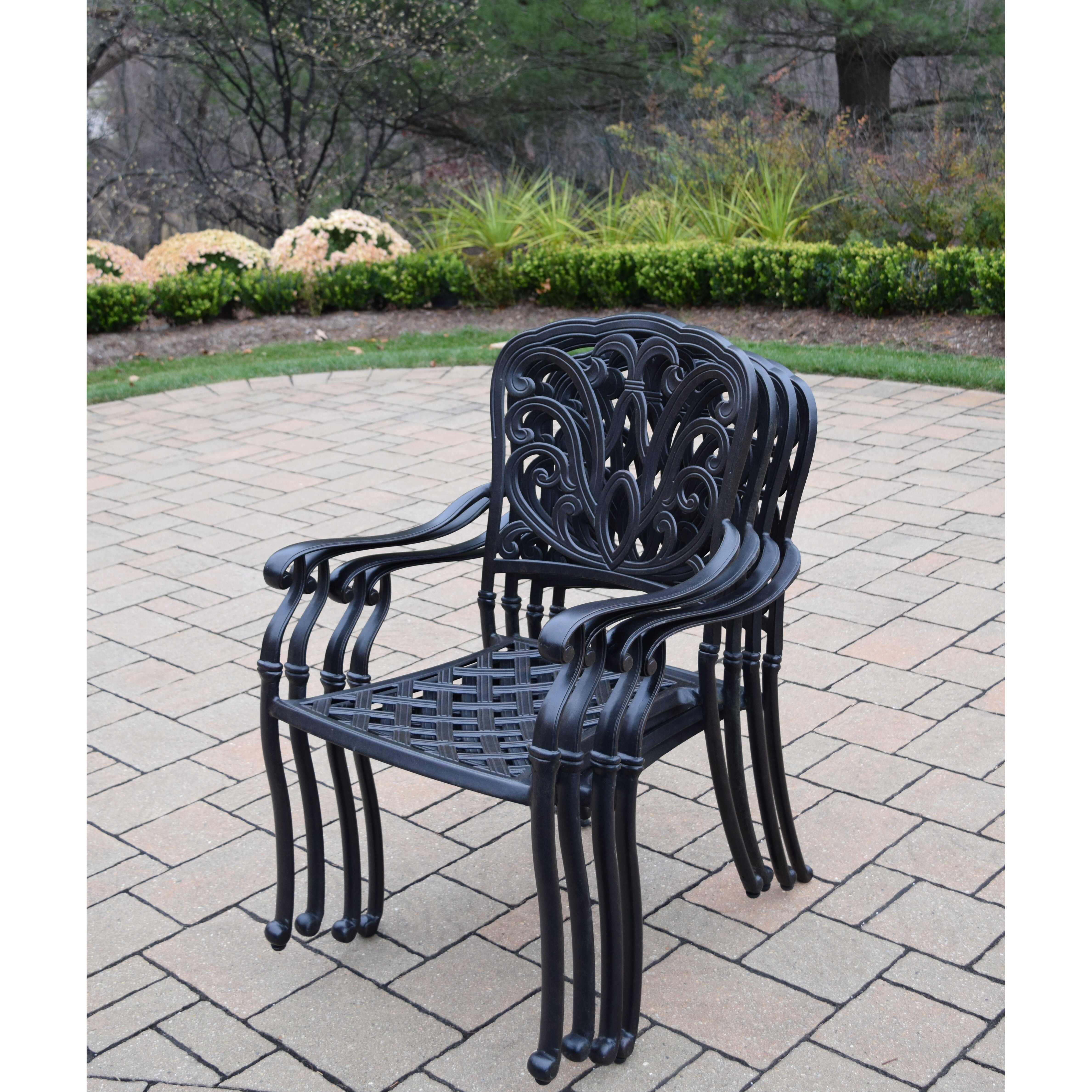 Oakland Living Hampton Stackable Dining Arm Chairs With