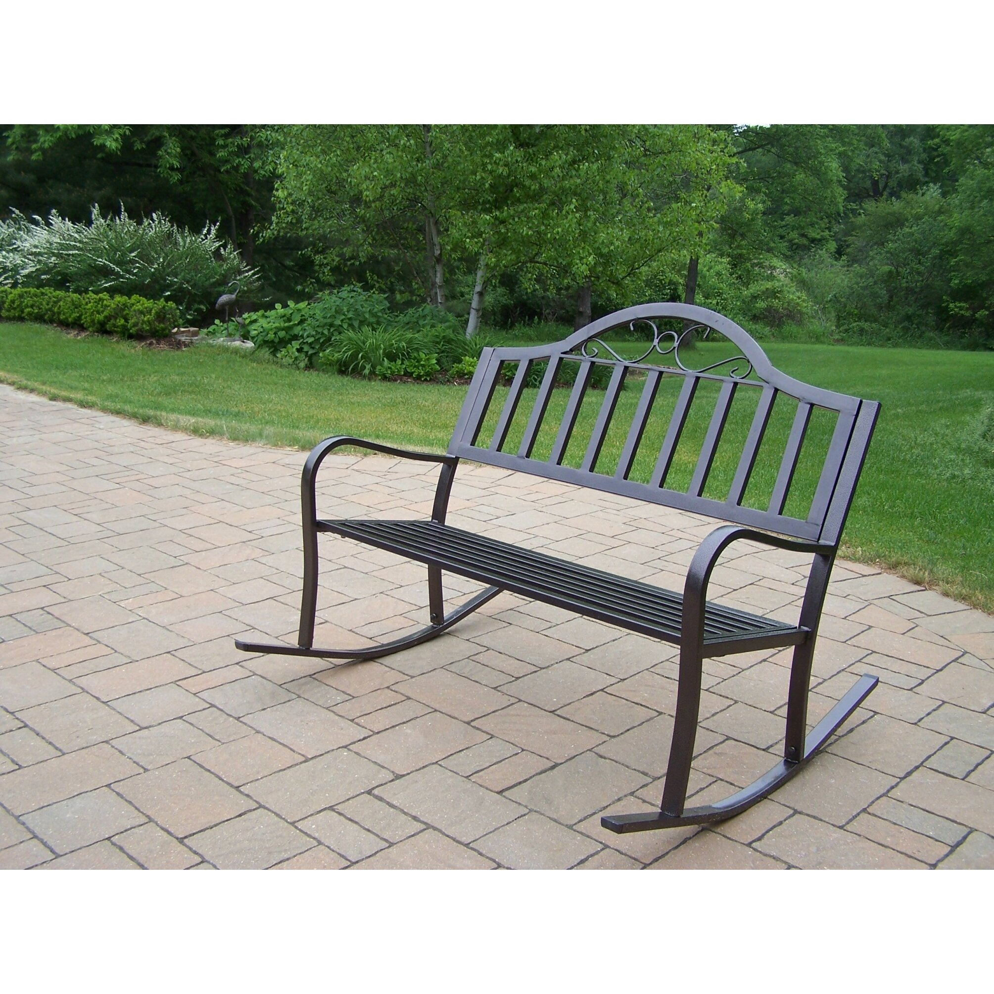 Oakland living rochester metal rocking garden bench reviews wayfair Aluminum benches
