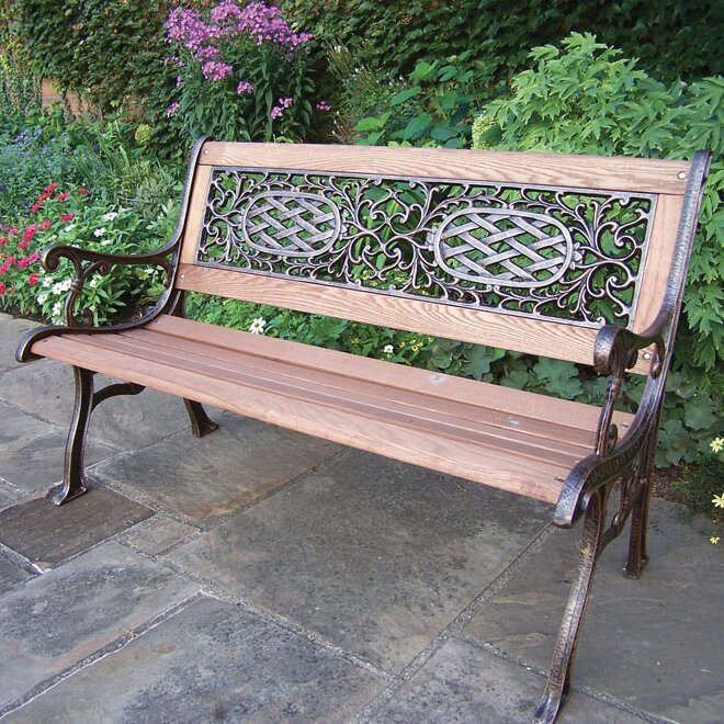 Oakland Living Mississippi Wood And Cast Iron Park Bench