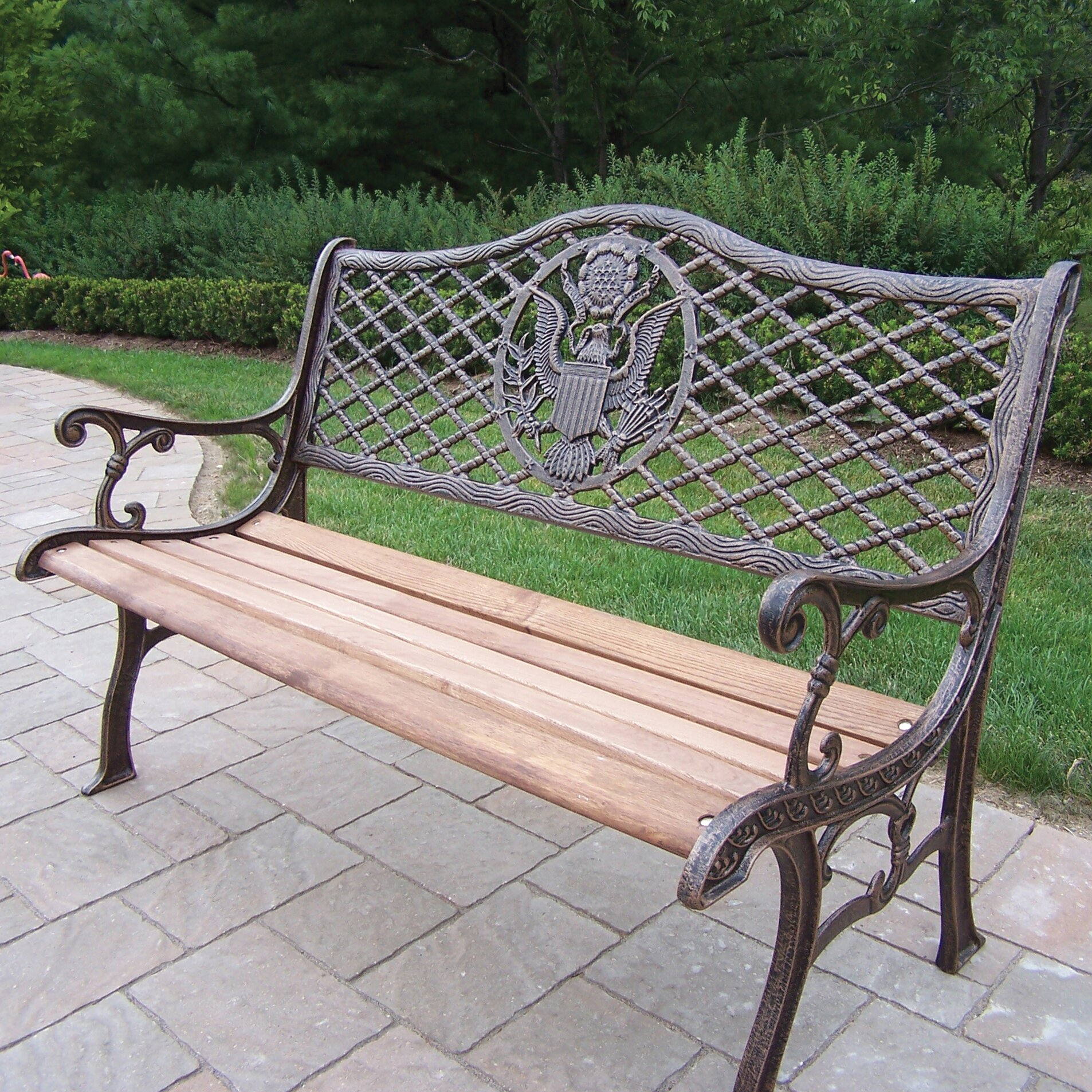 Oakland Living American Eagle Wood And Cast Iron Park Bench Reviews Wayfair