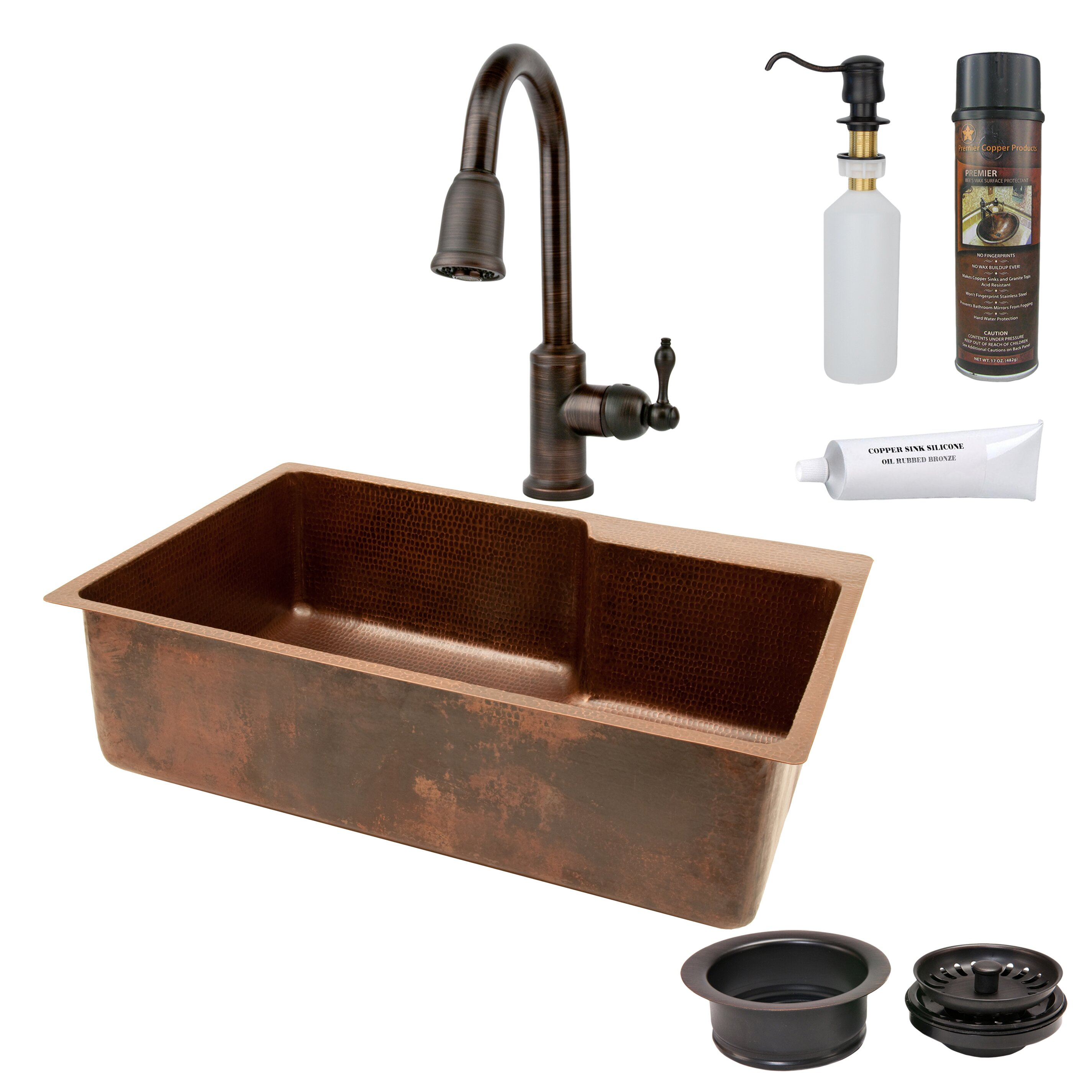 premier copper products 33 x 22 hammered single basin