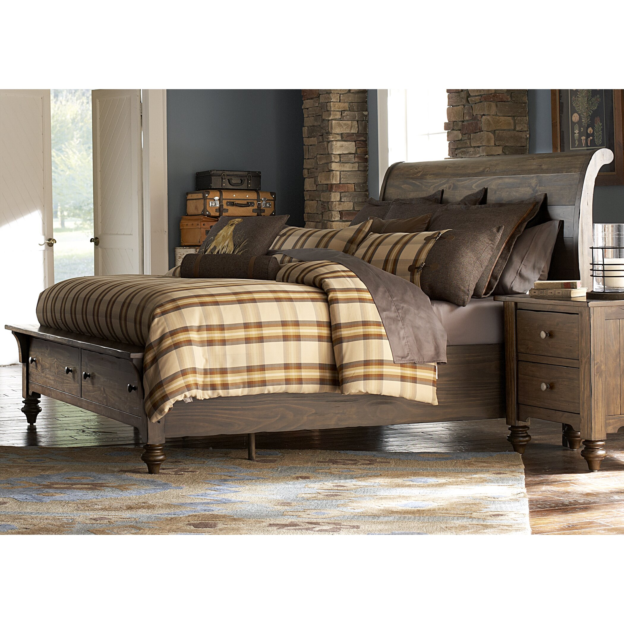 Liberty furniture solid living sleigh bed for Living bedroom furniture