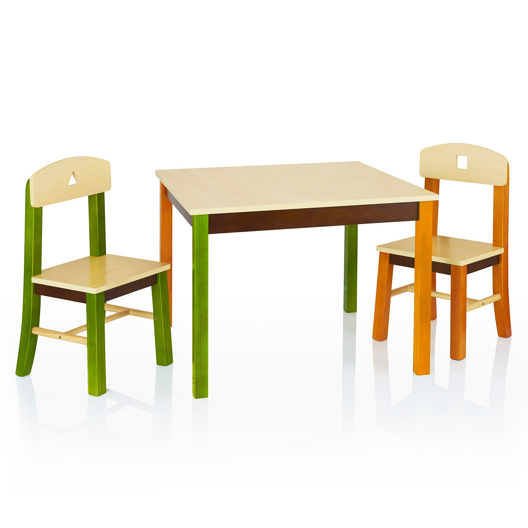 Guidecraft see and store kids 3 piece rectangle table and for Table and chair set
