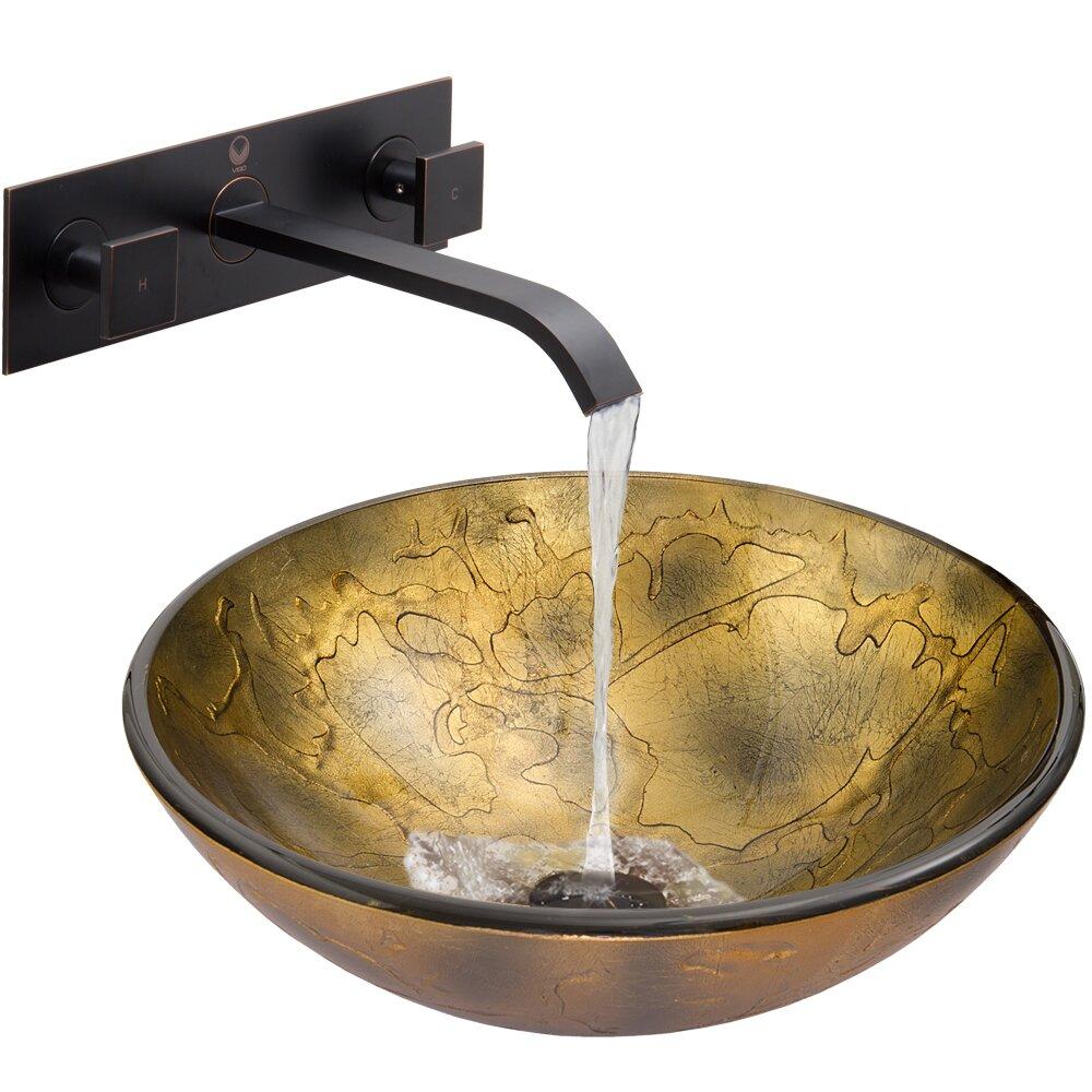 Vigo Copper Shapes Glass Vessel Bathroom Sink And Titus