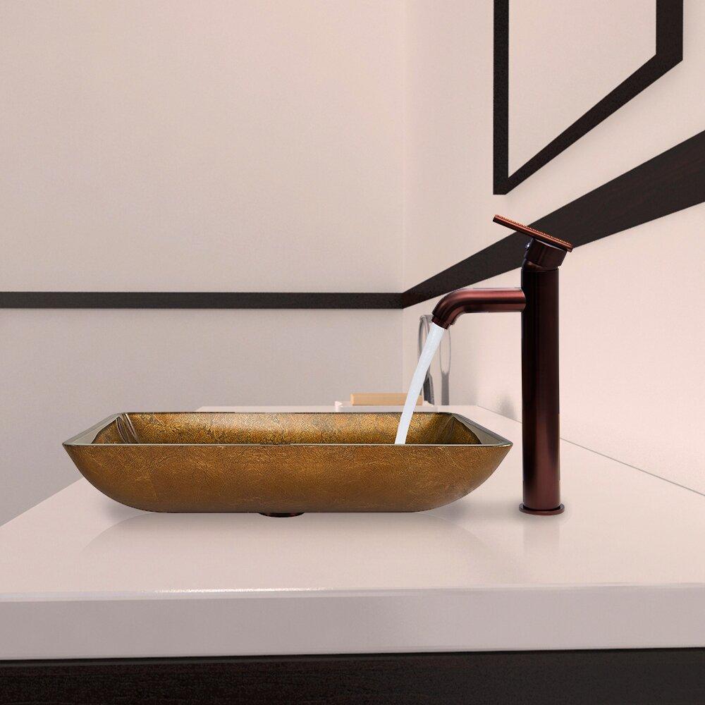 Vigo Rectangular Copper Glass Vessel Bathroom Sink And Seville Vessel Faucet With Reviews