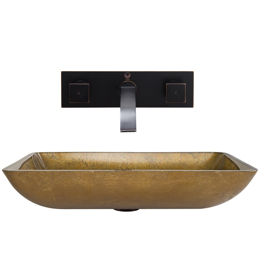 Vigo Rectangular Copper Glass Vessel Bathroom Sink And Titus Wall Mount Faucet With Pop Up