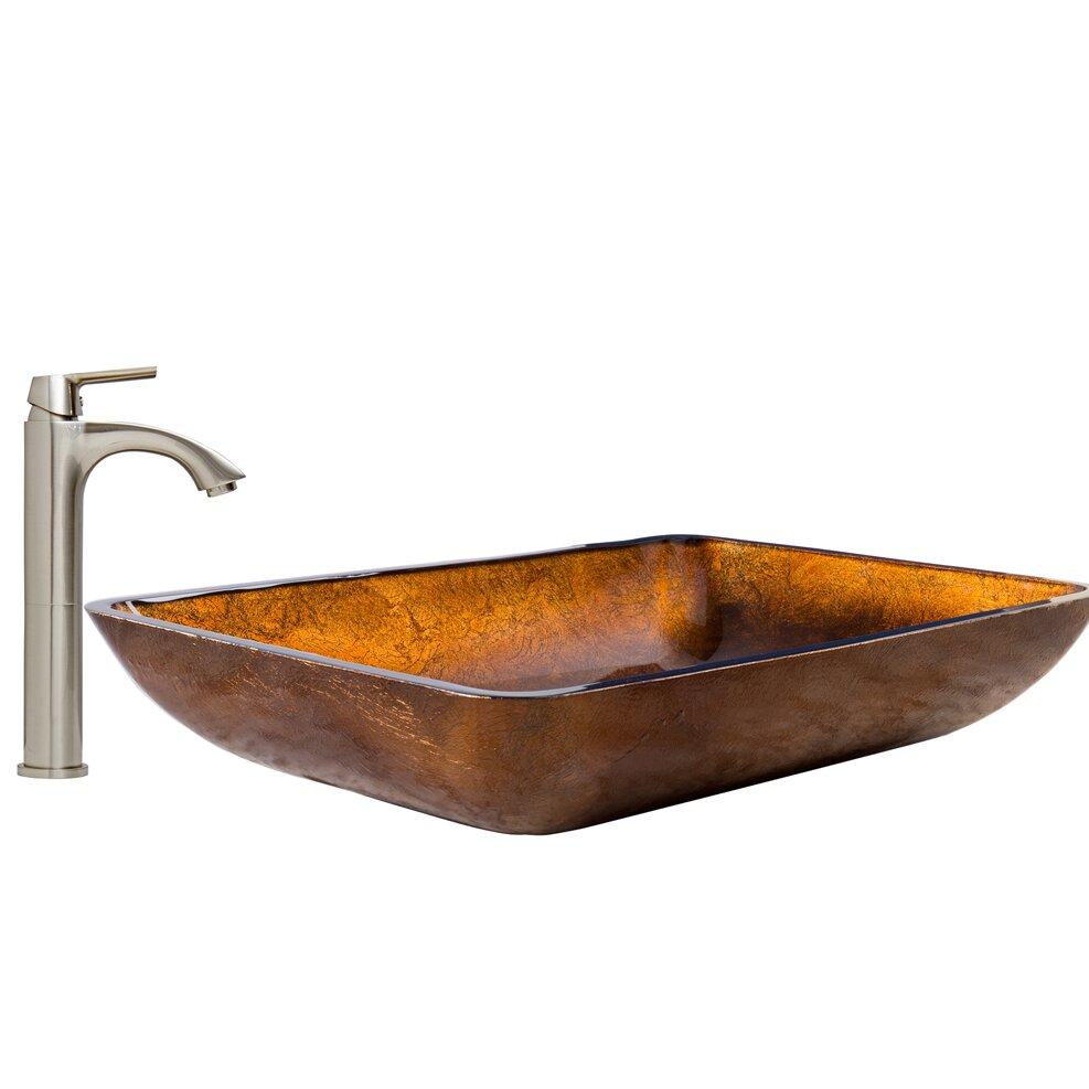 Vigo rectangular russet glass vessel bathroom sink and - Rectangular sinks bathroom vessel ...