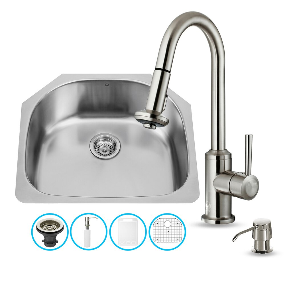Vigo 24 inch undermount single bowl 18 gauge stainless - 18 inch kitchen sink ...