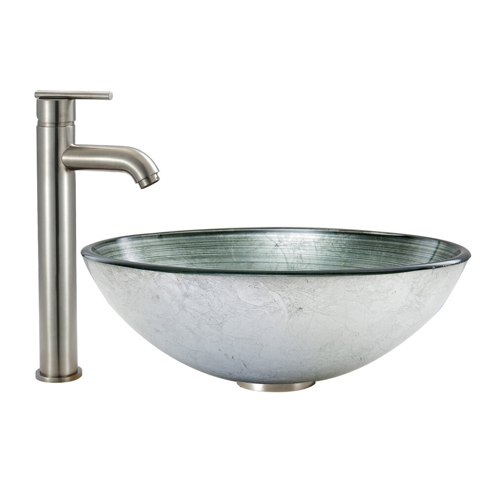 Vigo simply silver glass vessel bathroom sink and seville for Kitchen set vessels