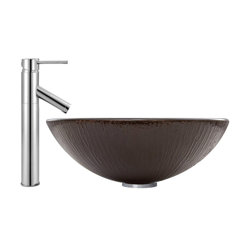 Vessel Sink Plumbing : Vigo Enchanted Earth Glass Vessel Bathroom Sink and Dior Vessel Faucet ...