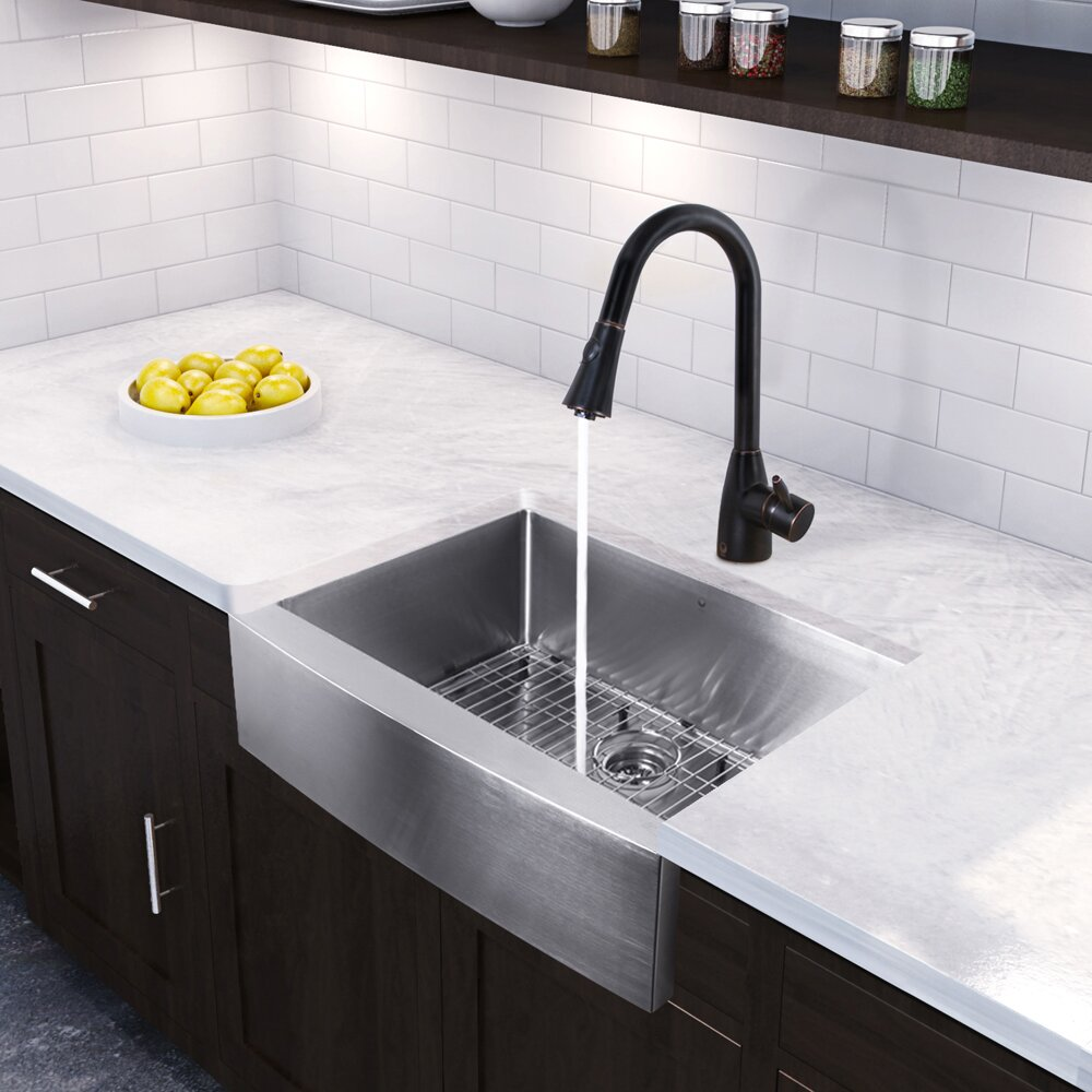 Vigo 30 Inch Farmhouse Apron Single Bowl 16 Gauge Stainless Steel Kitchen Sink With Aylesbury