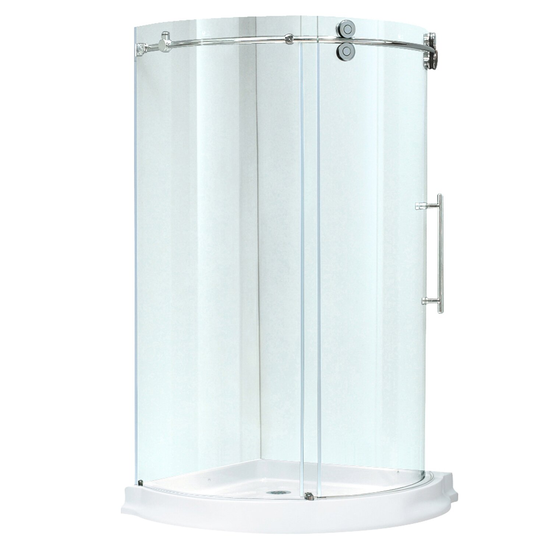 Vigo sanibel 40 x 40 in frameless round sliding shower - Wd40 on glass shower doors ...