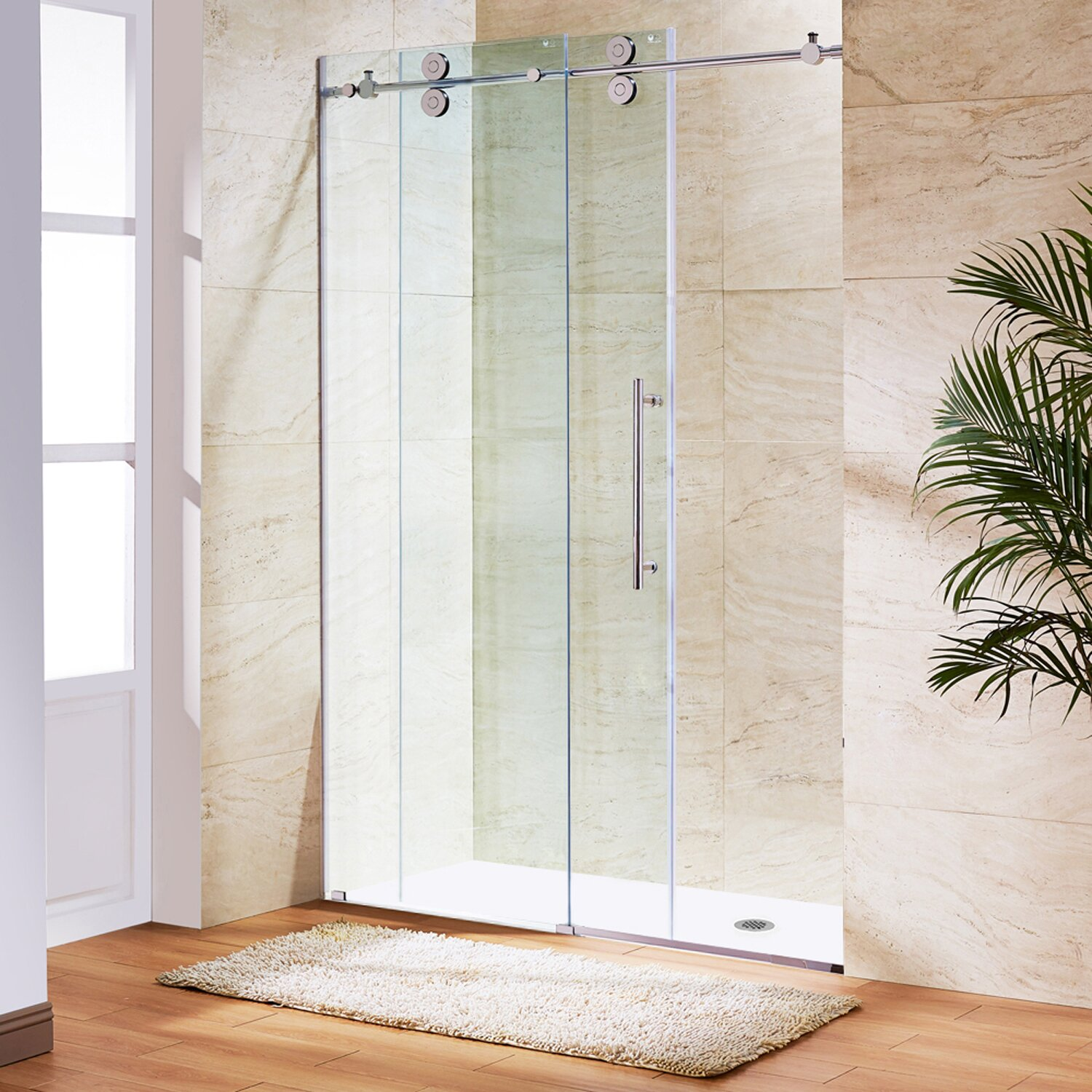 15004755194901001500 56 To 60 In. Frameless Sliding Shower Door With .375  In. Clear