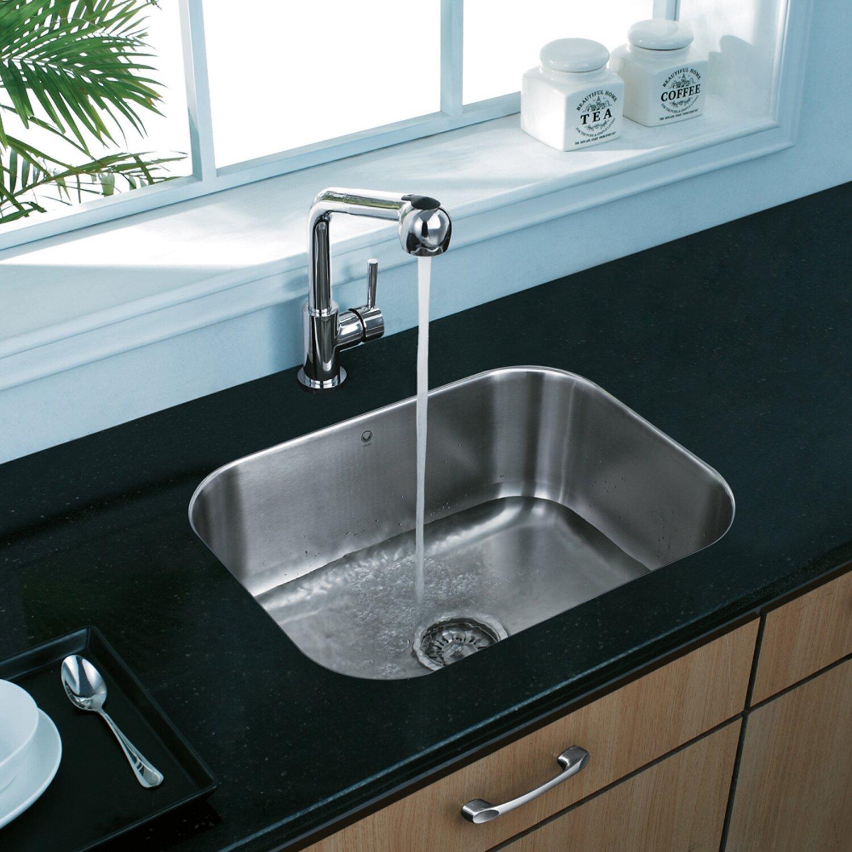 Vigo 23 Inch Undermount Single Bowl 18 Gauge Stainless Steel Kitchen Sink Reviews Wayfair