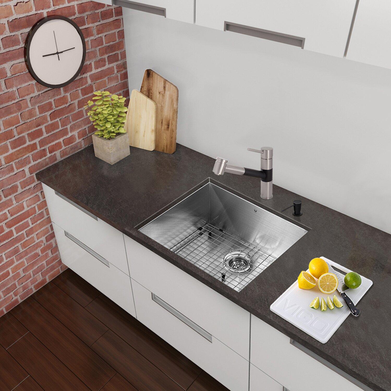 Vigo 23 Inch Undermount Single Bowl 16 Gauge Stainless Steel Kitchen Sink Reviews Wayfair