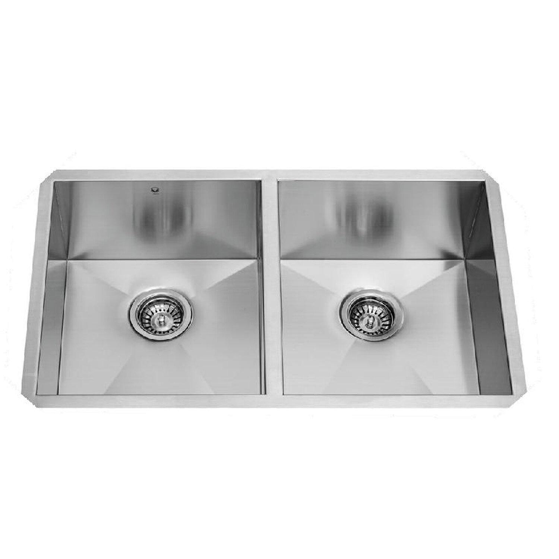 Vigo 32 Inch Undermount 50 50 Double Bowl 16 Gauge Stainless Steel Kitchen Sink Reviews Wayfair