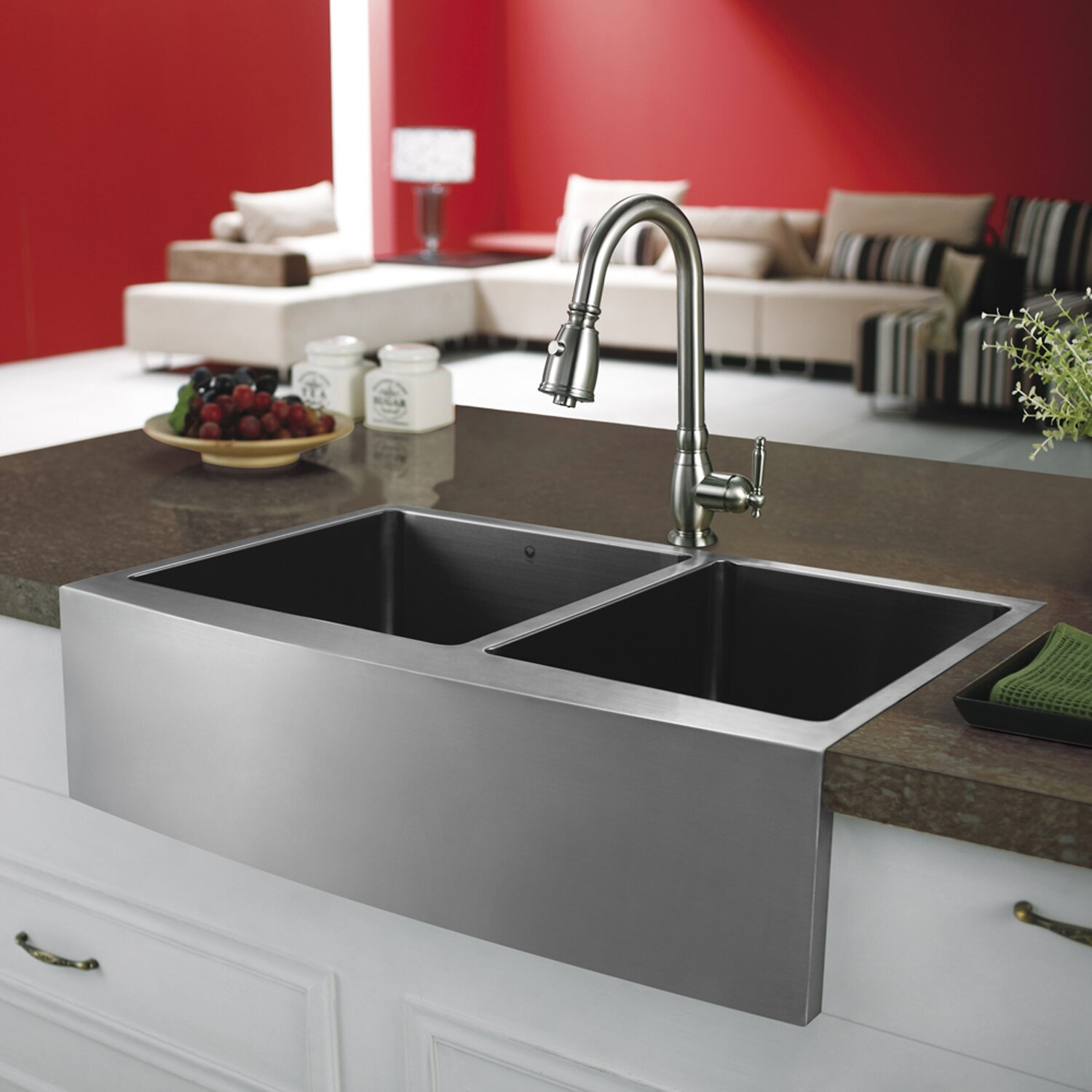 33 Inch Farm Sink : 33 inch Farmhouse Apron 60/40 Double Bowl 16 Gauge Stainless Steel ...