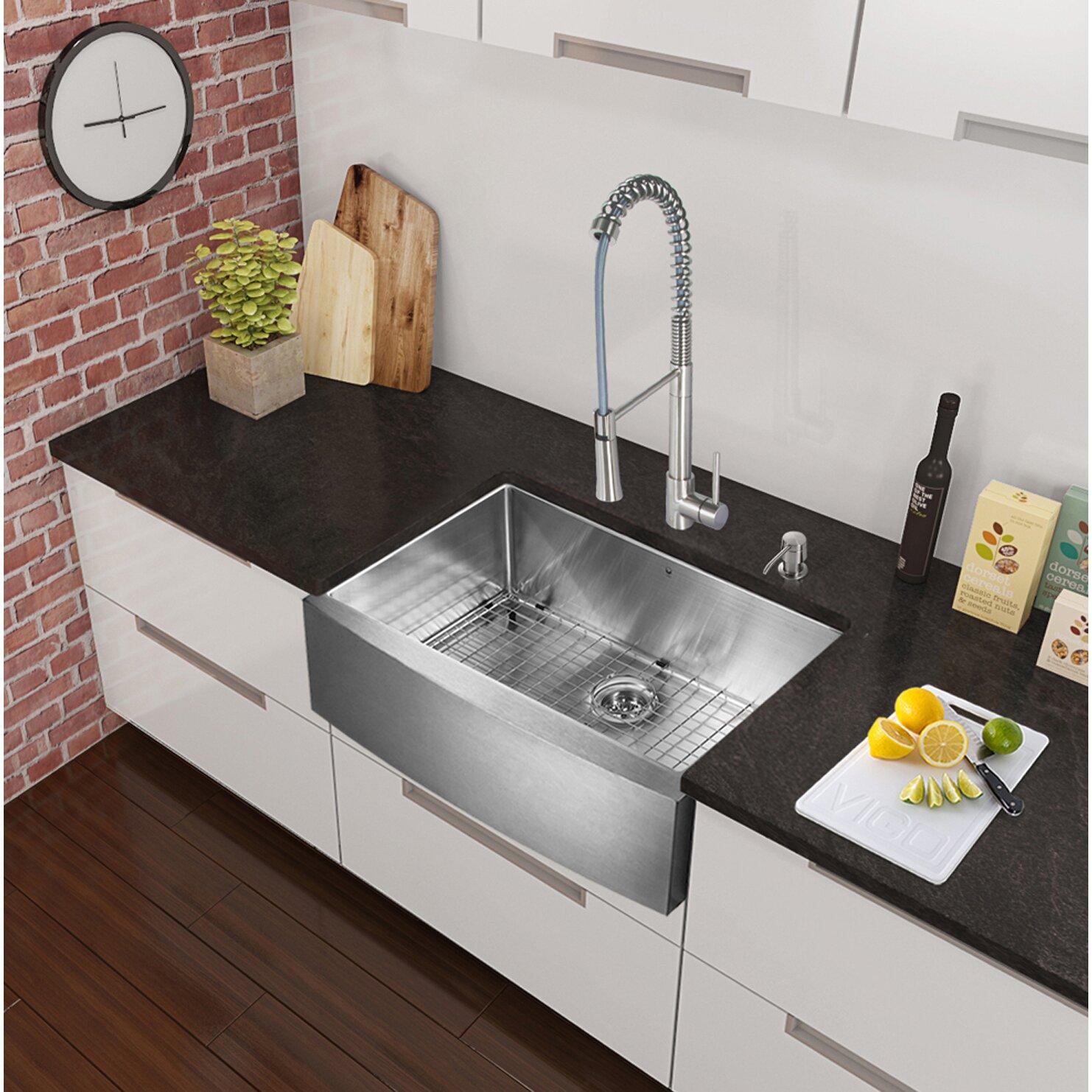"""Apron Kitchen Sinks: Vigo 33"""" X 22.25"""" Farmhouse Apron Single Bowl 16 Gauge"""