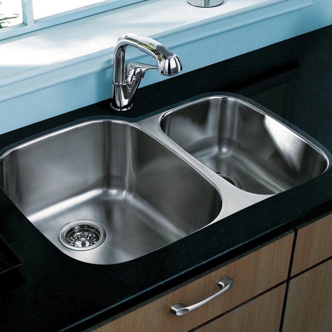 30 inch double bowl kitchen sink vigo 30 inch undermount 70 30 bowl 18 8982