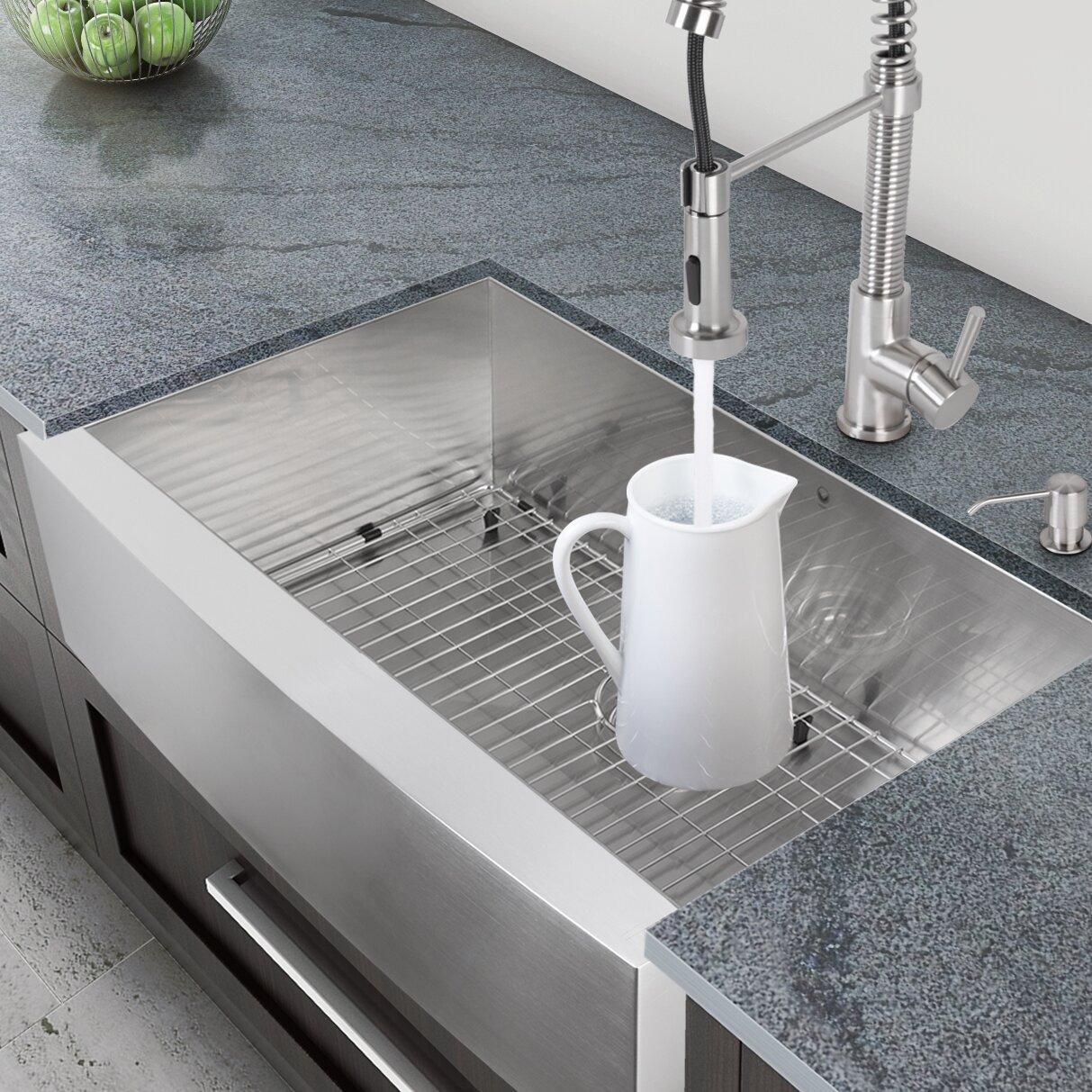 Vigo 33 inch Farmhouse Apron Single Bowl 16 Gauge Stainless Steel Kitchen Sin
