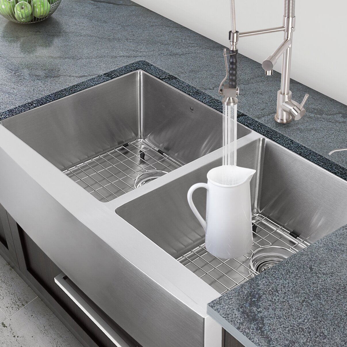 ... Double Bowl 16 Gauge Stainless Steel Kitchen Sink & Reviews Wayfair